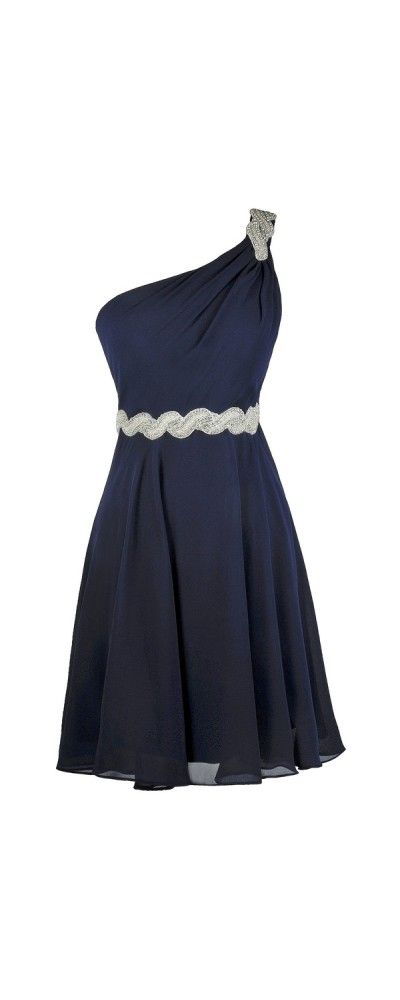 Lily Boutique Windswept One Shoulder Embellished Dress in Navy, $74 Navy Party Dress, Cute Homecoming Dress, Navy Bridesmaid Dress www.lilyboutique.com
