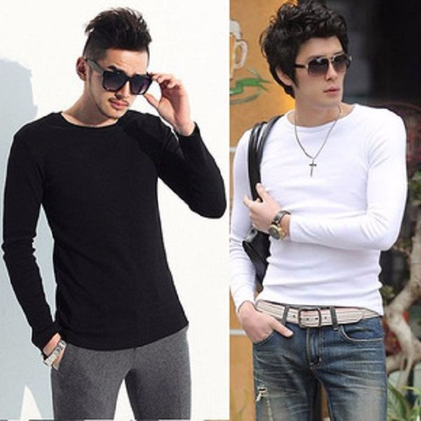 Long sleeve tops casual t shirt white and black simple design http://mobwizard.com/product/2015-hot-me1558285327/