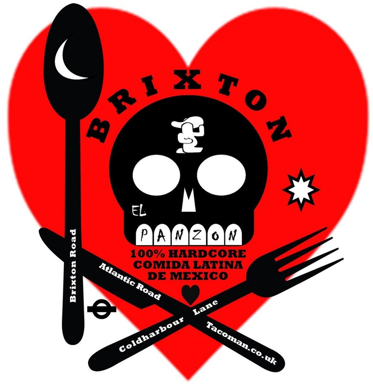Map of Brixton with the TacoMan (ELPANZON) on Twitter at the heart of it.