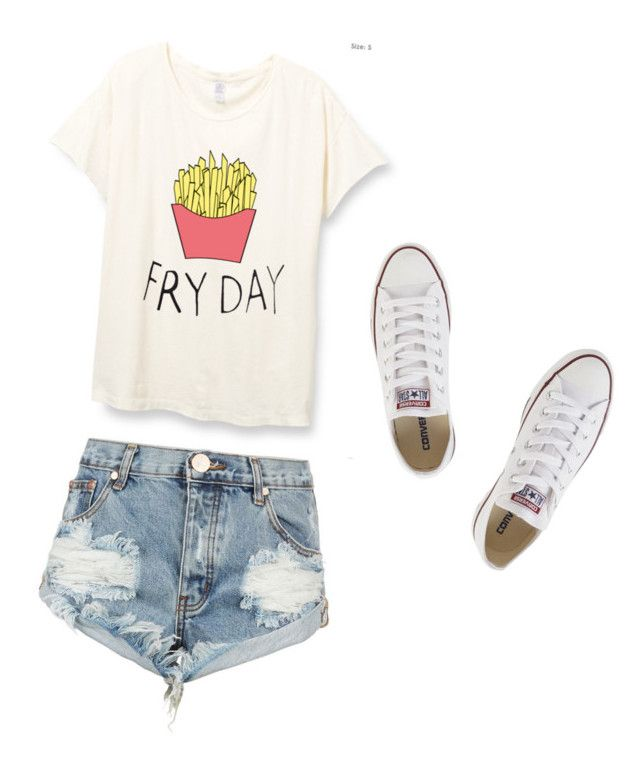 """""""Basic Middle Schooler Outfit"""" by sydneymaarie on Polyvore featuring One Teaspoon and Converse"""