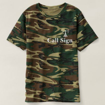 Camouflage Ham Radio Call Sign & Tower T-shirt  $37.95  by Brownielocks  - cyo customize personalize unique diy