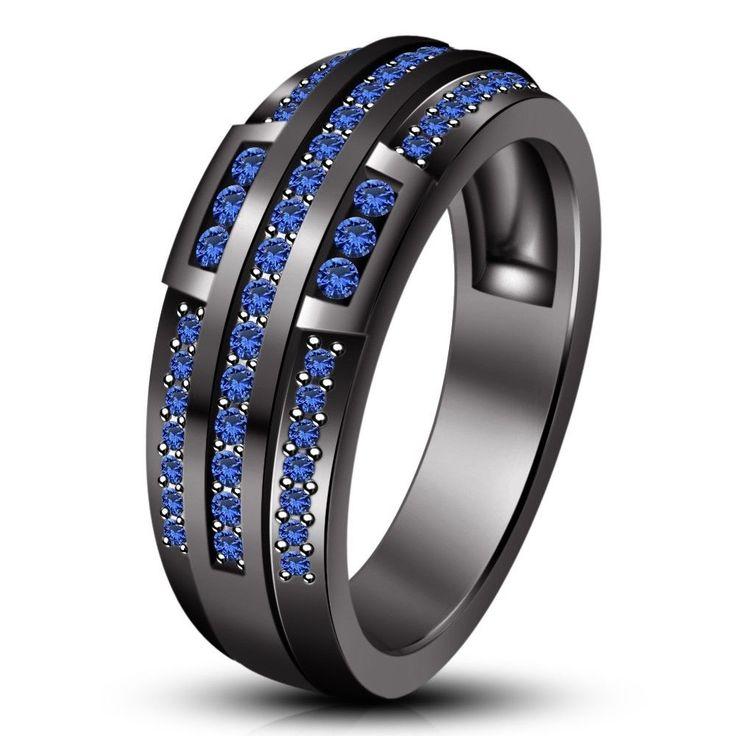 sapphire wedding anniversary invitations%0A      Ct Round Sapphire   Kt Black Gold FN     Silver Men u    s Spl Wedding Band  Ring