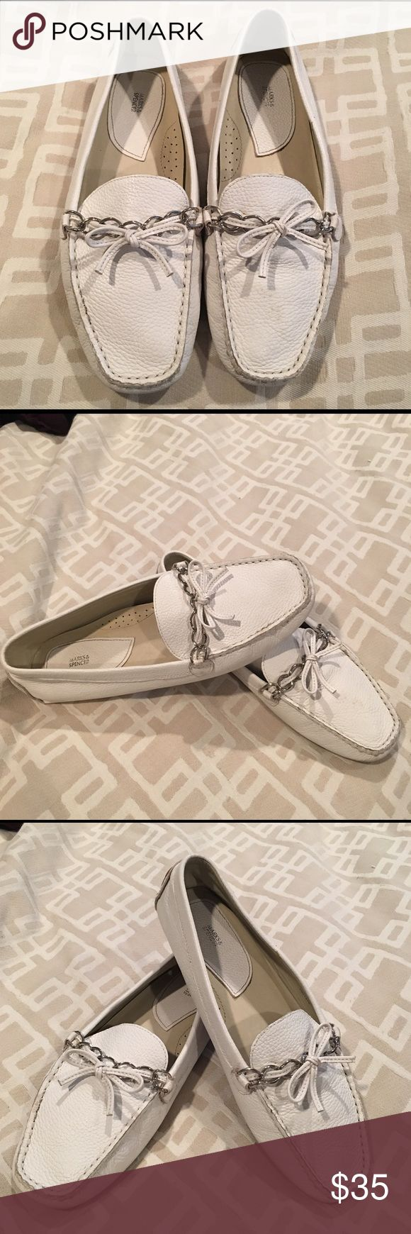 Leather Marks & Spencer Loafers Comfy, great quality loafers. Get that professional look while also feeling so comfortable!! These are in great shape, Worn once. Bought these in London they are a UK 6, but fit perfectly for a US 8.5 Shoes Flats & Loafers