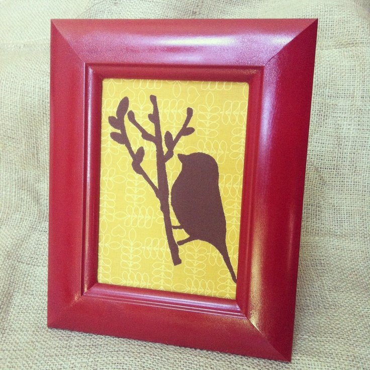 Stencil on fabric in handpainted frame.Wall Art, Crafts Ideas, Eclectic Calico, Nifty Things, Handpainted Frames, Fabrics Stencils
