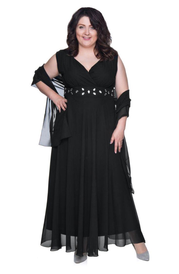 Długa czarna szyfonowa sukienka z szalem - Modne Duże Rozmiary