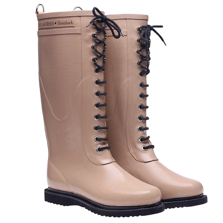 Lace Up Rainboot Tall Camel