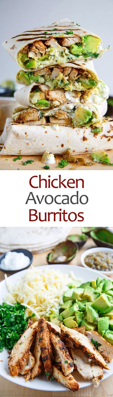 Chicken and Avocado Burritos - use homemade tortillas, Greek yogurt, and homemade seasoning mixes to keep this low-sodium and to enhance the fresh flavors.