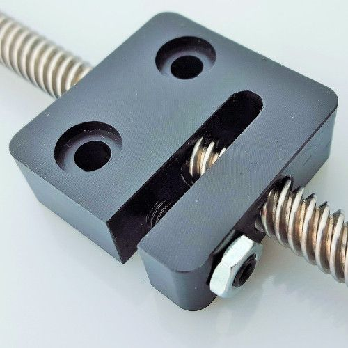The 8mm Acme Anti-Backlash Nut Block is a great choice for many projects requiring lead screw linear motion. The pitch and diameter are a perfect combination of high torque and speed. This screw is suitable for most machine designs and has quickly become a standard for builders and makers.