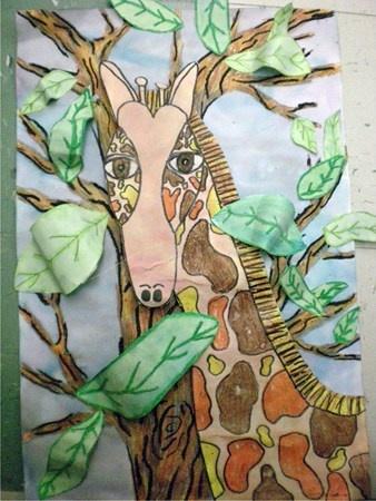 girafe....Feuilles d'arbre 3D