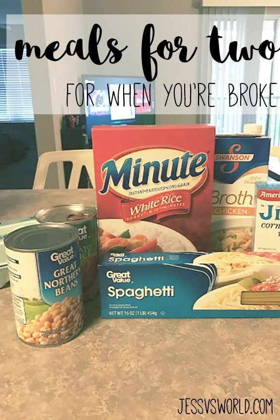 Cheap meal ideas for two. Stay frugal and lower your grocery bill when you're broke.