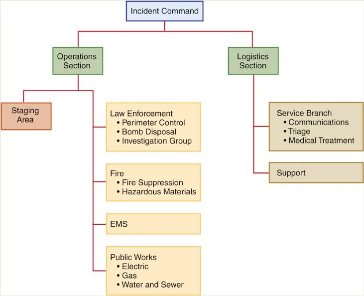 Sample organizational chart for an incident command system (at the scene of a disaster).