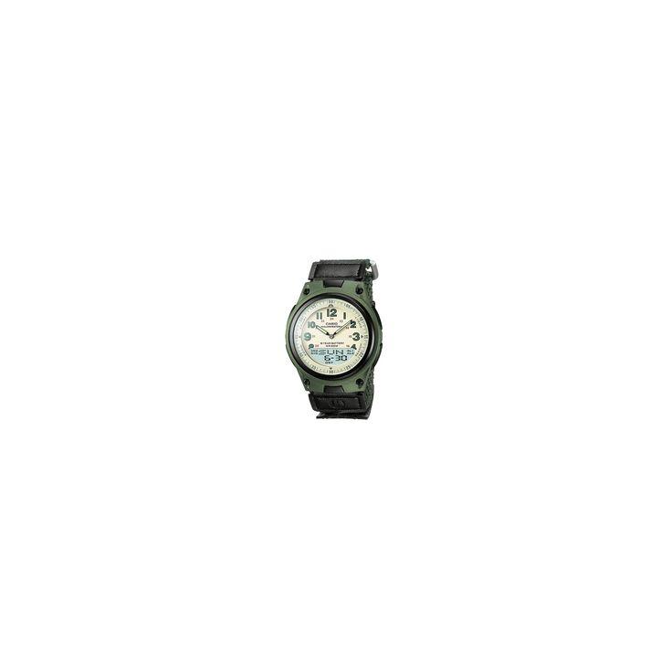 Casio Men's World Time Ana-Digi Data Bank 10-Year-Battery Watch - Black (AW80V-3BV), Lt Tent Green/Green