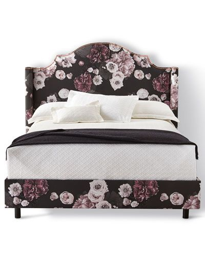 Carmen Floral Icy California King Bed, Black