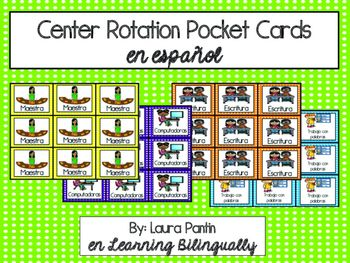 This product includes center rotations cards, whichcome in small and large versions (6 to a page; 4 to a page).Centers included are:Teacher, writing, listening to books, computers, science, math, word work, social studies, Star Table (for crafts/parent volunteers), Smartboard, construction, read with someone, fluency center, phonics center, poetry, grammar center, iPads, art write the room, read the room, and game center.Great for a Spanish dual language classroom!