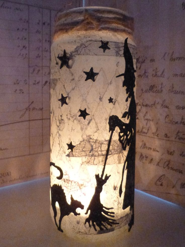 Altered jars with candles and Tim Holtz Thinlits - at Words and Pictures