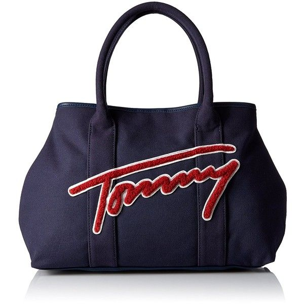 Tommy Hilfiger Aurora Canvas Tote ($48) ❤ liked on Polyvore featuring bags, handbags, tote bags, tote purses, canvas tote bags, blue tote, canvas handbags and tommy hilfiger tote bag