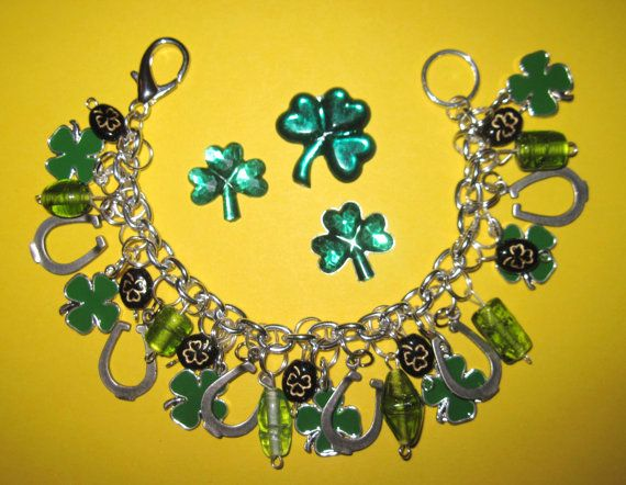St Patrick's Day Charm Bracelet Lucky Irish Clover by Jynxx, $34.00