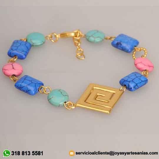 Pulsera semipreciosa Turquesa Rectángulo Azul Rey, Moneda Rosada y Turquesa y decoración Calima