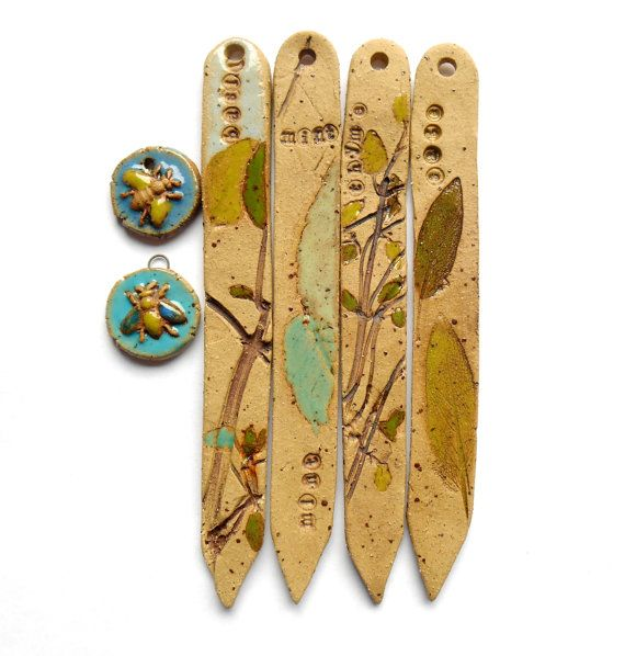 Plant Labels Ceramic Herb  Markers  Handmade by Bohulleybeads, £20.00