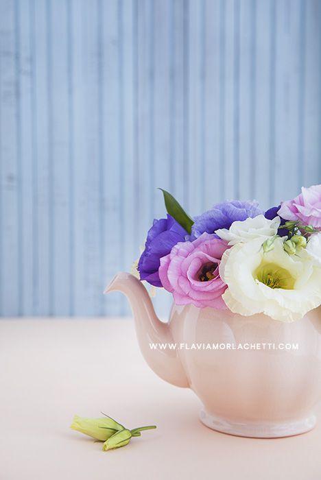 Lisianthus flowers and teapot ~ Still Life Photography ~ www.flaviamorlachetti.com