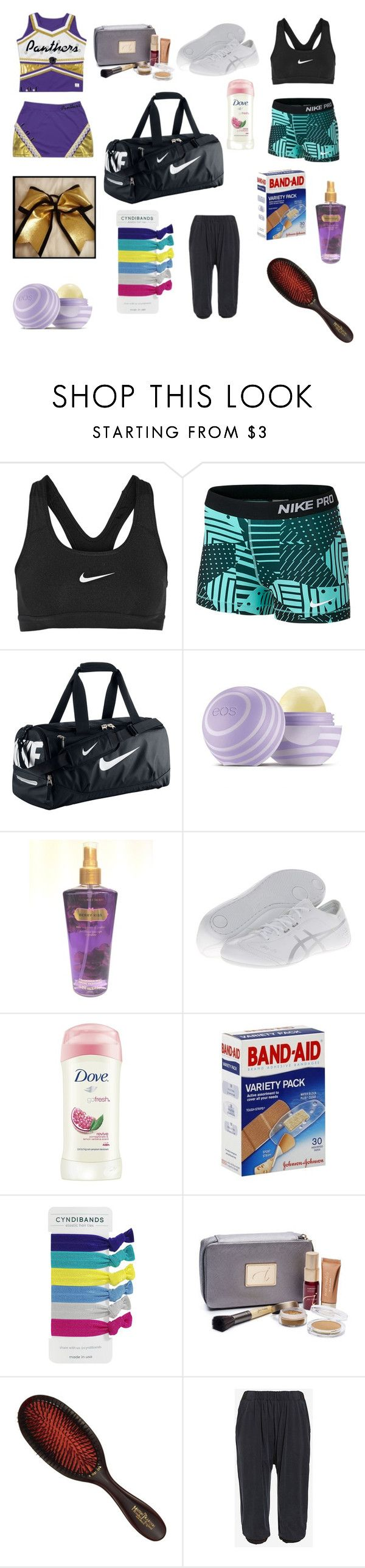 """""""whats in my cheer bag"""" by stylegal1221 on Polyvore featuring NIKE, Eos, Victoria's Secret, Asics, Dove, Jane Iredale, Mason Pearson and Skin"""