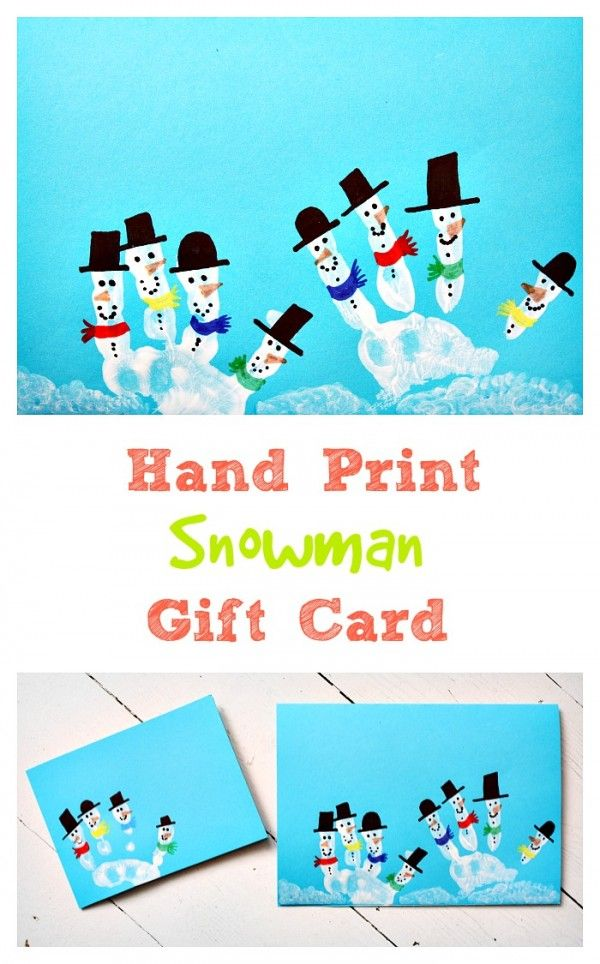 Love these adorable snowman made from hand prints! A perfect accompaniment for a homemade gift!