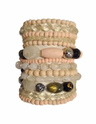 Wolwit-ecru: Sigga Bracelets, Bracelets Ecru