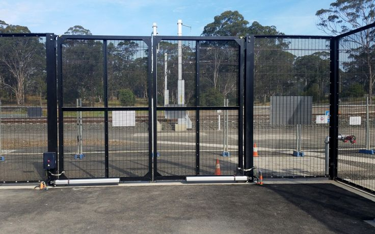 Power station with high security fencing.