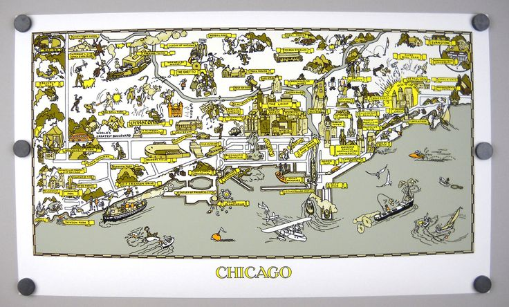 Chicago Archival Print Cartograph Comic Image Map Giclee from 1940s Tourist Guide Lake Michigan Loop Gold Coast Grant Park Wrigley Cubs Sox by NuVueStudio on Etsy