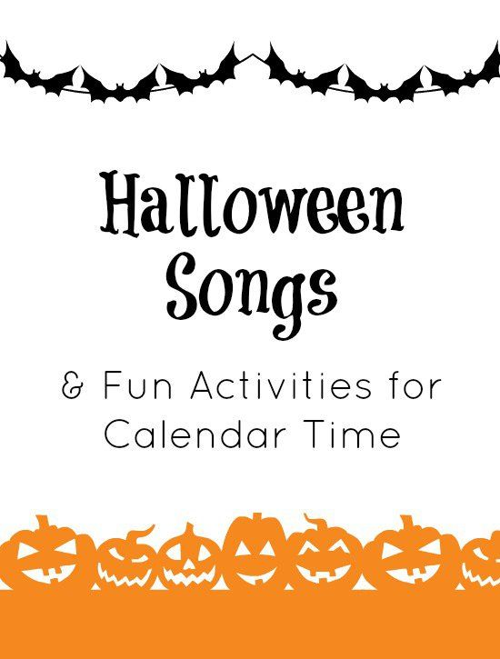 Halloween songs for toddlers and preschoolers. Easy action rhymes to use for calendar time.