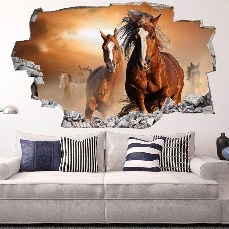3D-Vinyl-Muursticker Wilde Paarden - Nu met korting bij Lesara