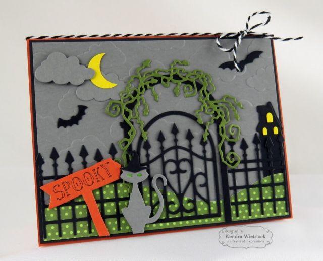 Spooky Scene Card By: Kendra Wietstock #Cardmaking, #TEMatched, #BuildAScene…