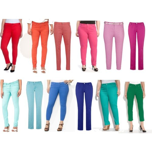 Plus Size Bright Color Skinny Jeans, created by alexawebb on Polyvore - Best 25+ Color Skinny Jeans Ideas On Pinterest Color Jeans