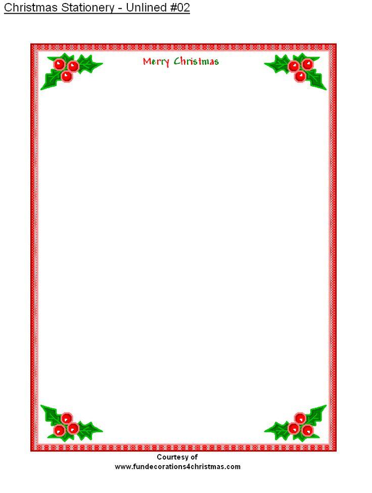 Free printable stationery free printable unlined christmas stationery printable christmas for Christmas stationary border