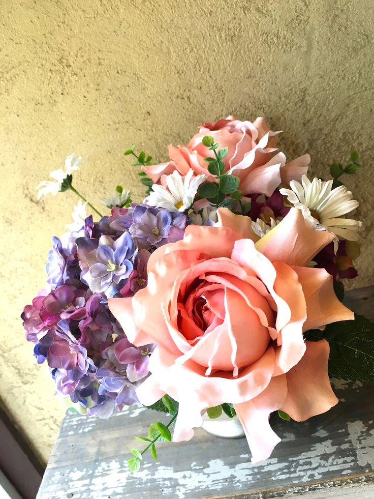 【お母様の一周忌に、バラと紫陽花のアートフラワー】