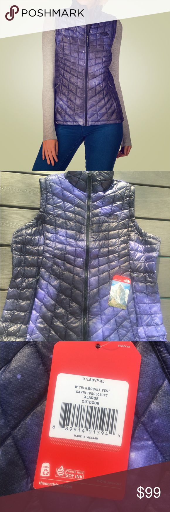 Woman's The North Face Thermoball Vest Extra Large Our most versatile synthetic-insulated vest ThermoBall™ offers the lightweight loft, warmth and compressibility of down with the wet-weather insulating performance of synthetics 15D nylon ripstop with 9.5 g/ft² ThermoBall™ insulation throughout the body Stowable in pocket Active fit Exposed center front zip Secure-zip hand pockets Hem cinch-cord The North Face Jackets & Coats Vests