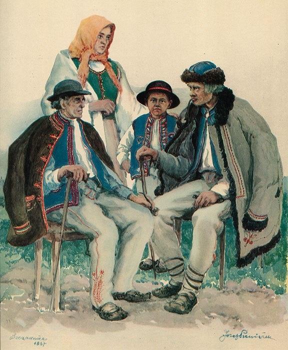 Akwarela J. Pieniążka z roku 1937 przedstawiająca grupę górali Pienińskich ze Szczawnicy