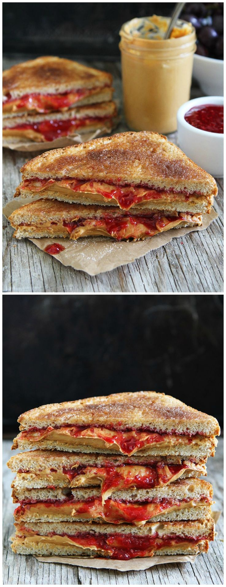 Cinnamon Toast PB&J Recipe on twopeasandtheirpo... Two classics come together to create one amazing sandwich! This is the best peanut butter and jelly sandwich I have ever had!