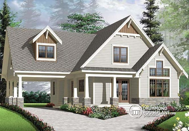 W3507 v1 3 bedroom ski chalet with carport 2 living for Chalet style homes with attached garage