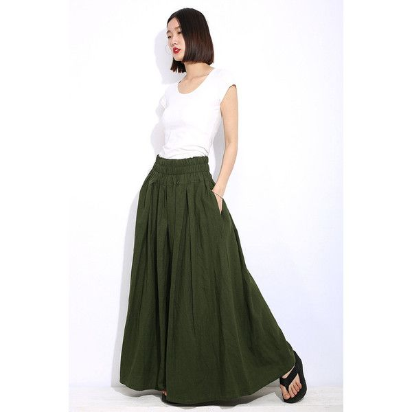 Army Green Plus Size Skirt Khaki Long Maxi Casual Everyday Comfortable... ❤ liked on Polyvore featuring skirts, long ankle length skirts, maxi skirts, plus size long skirts, white long skirt and white skirt