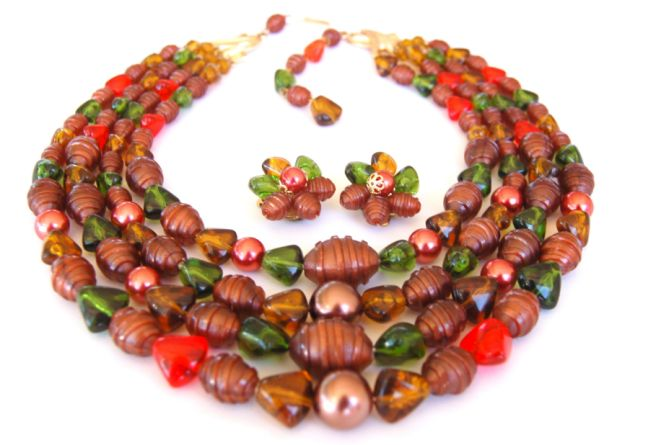 West Germany Fall Colors Necklace Earring Set- Vibrant Colors!