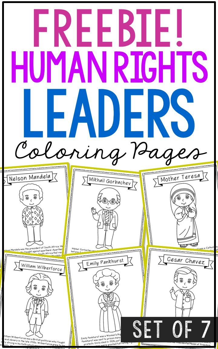 Freebie Human Rights Leaders Biography Coloring Pages Easy
