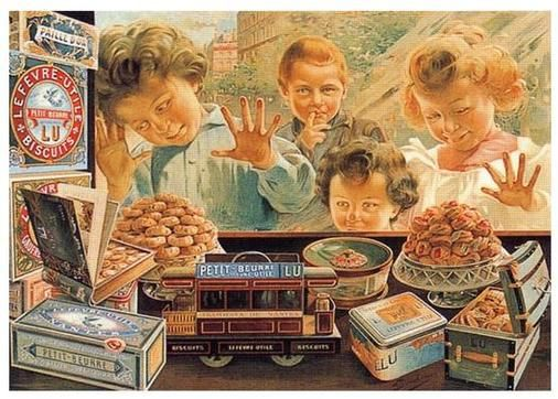 Vitrine This is a high quality reproduction print of a vintage French food advertising art poster for a bakery in France. It features several little kids looking in through the store window at some cookies.