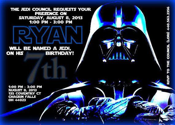 Star Wars Birthday Invite 5x7 Custom Party Printable Invitation Darth Vader WarsStar Bir