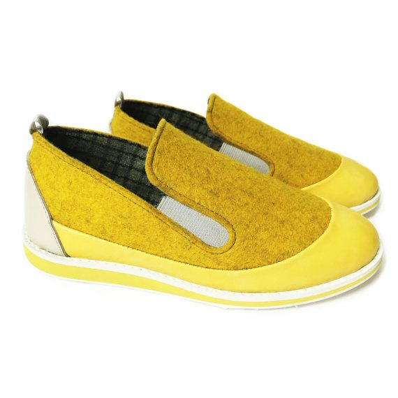 Handmade wool shoes yellow outdoor shoes slip on shoes by TOOCHEme