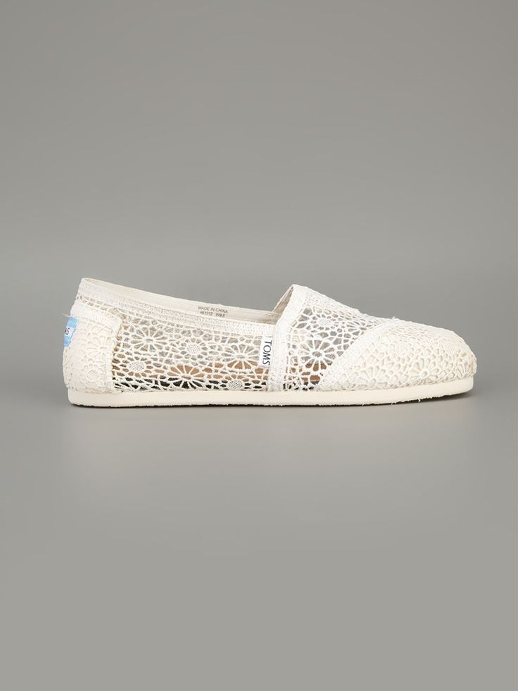 Ivory cotton crochet espadrilles from Toms