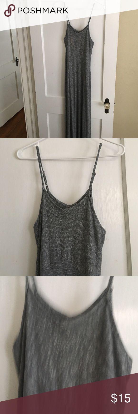 V neck grey maxi dress V neck adjustable strap grey maxi dress. Worn once. Mossimo Supply Co Dresses Maxi