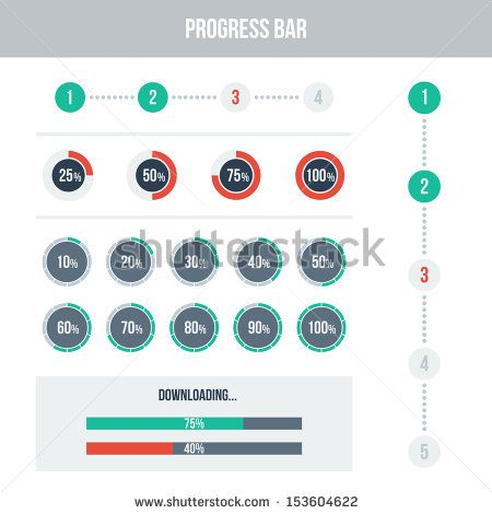 Flat UI design elements set - different progress bars. Vector illustration. Light colors.
