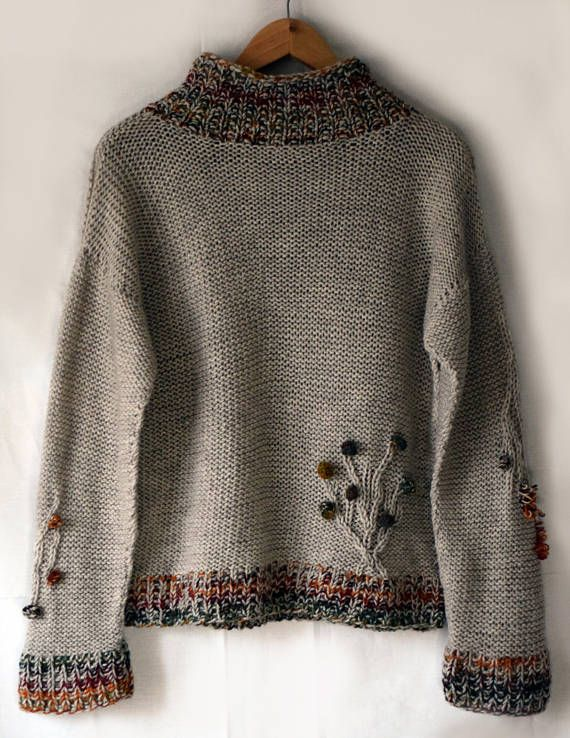 Light brown oversize sweater handmade Beige sand owl forest tree autumn jumper Pullover knitwear wool colorful casual original knitted Large and cozy oversize sweater with forest motifs. The measurements of this jumper are shown in the last photo. Be sure to check yours before