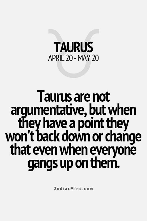 Taurus are not argumentive, but when they have a point they wont back down or change that even when everyone gangs up on them